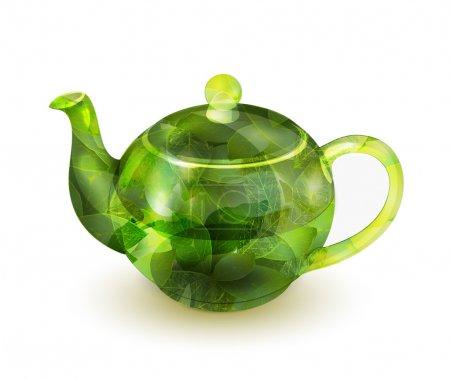 Illustration pour Illustration vectorielle vectorielle de théière verte - image libre de droit