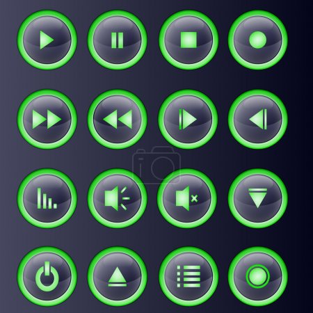 Illustration for Media player buttons collection. - Royalty Free Image