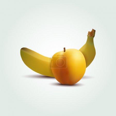 Illustration pour Pêche vectorielle et banane - image libre de droit
