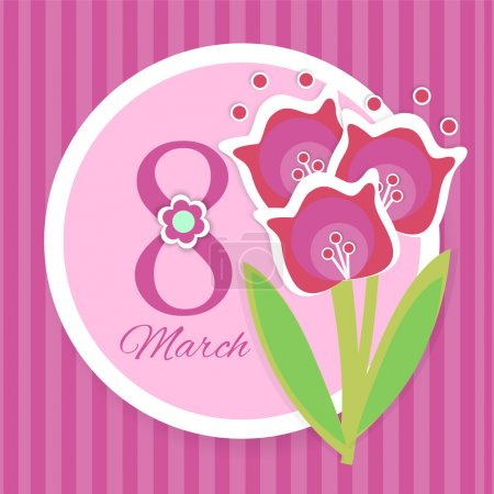 Illustration for Women's day vector greeting card with flowers - Royalty Free Image