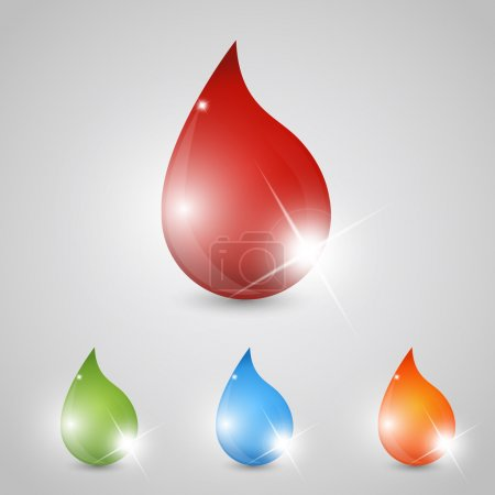 Colored set of glossy drops