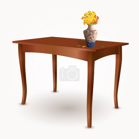 Photo for Wooden table with vase of flowers - Royalty Free Image
