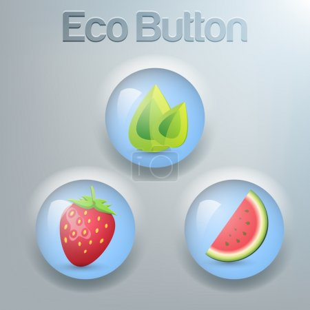 Illustration for Set of eco buttons. Vector collection. - Royalty Free Image