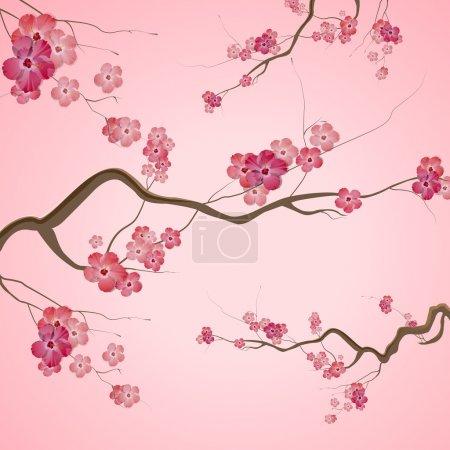 Photo pour Branches avec fleurs roses printanières - image libre de droit
