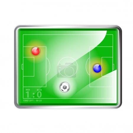 Football (soccer) field stadium with ball, vector illustration