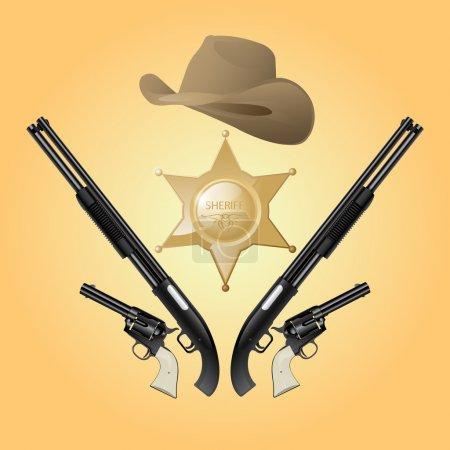 Illustration pour Ensemble de shérif vectoriel texas - image libre de droit