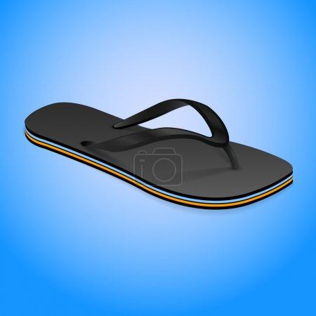 Thongs shoe, slipper on blue background, vector