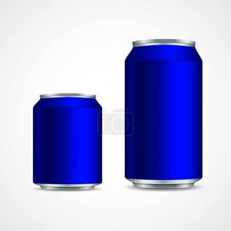 Illustration pour Deux canettes en aluminium bleu - image libre de droit