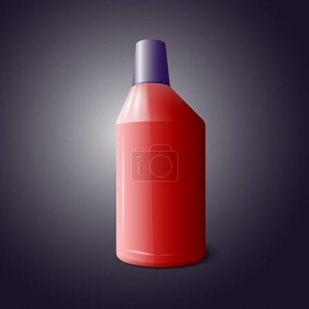 Illustration pour Bouteille rouge de produit nettoyant, vecteur - image libre de droit