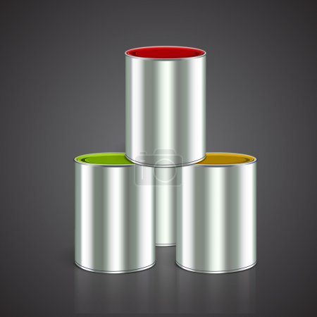 Three buckets of paint: yellow, red, green. Over white. Vector
