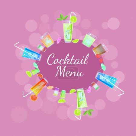 Illustration pour Cadre vectoriel avec cocktails - image libre de droit