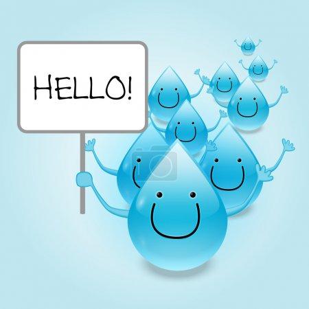 Illustration pour Mascotte de goutte d'eau personnages de dessin animé tenant un signe vide.Illustration vectorielle - image libre de droit