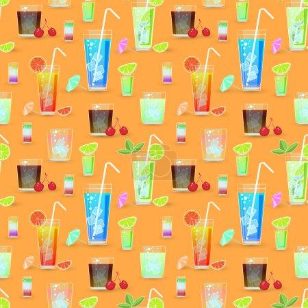 Illustration pour Modèle sans couture vectoriel avec cocktails - image libre de droit