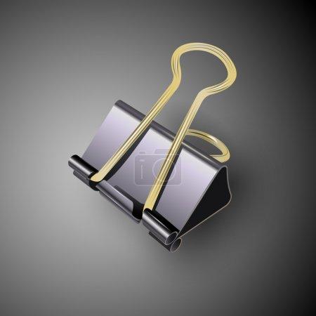 Black binder clips. Vector
