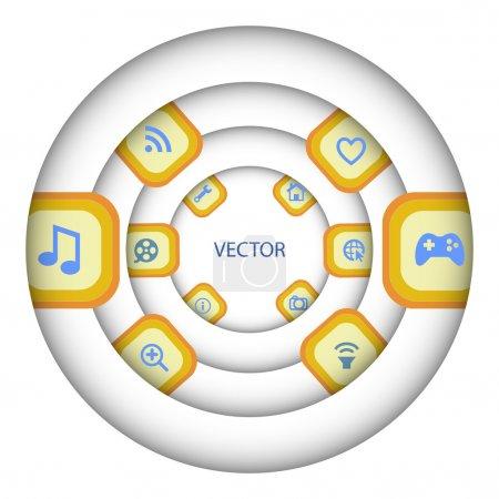 Media player icon set, vector