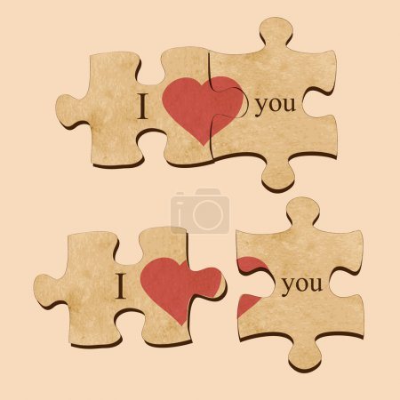 Vector illustration of love puzzle