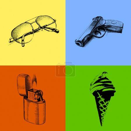 Illustration pour Fond vectoriel coloré avec des lunettes de soleil, pistolet de poing, briquet à cigarette et crème glacée dans le style croquis - image libre de droit