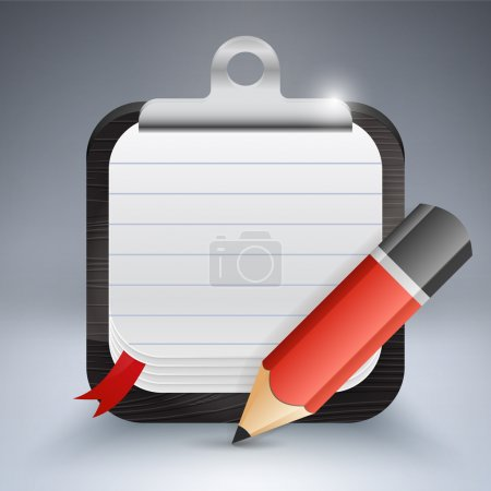 Notepad with pencil. Vector