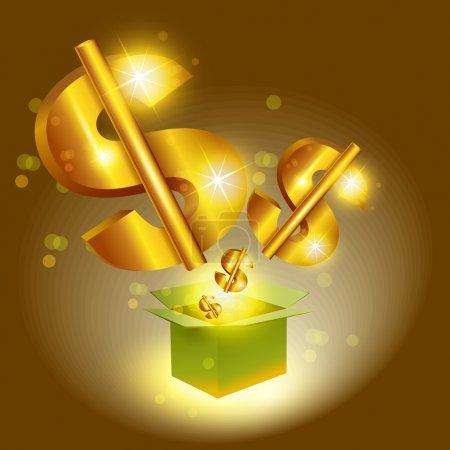Illustration pour Golden dollar signes sauter de la boîte - image libre de droit