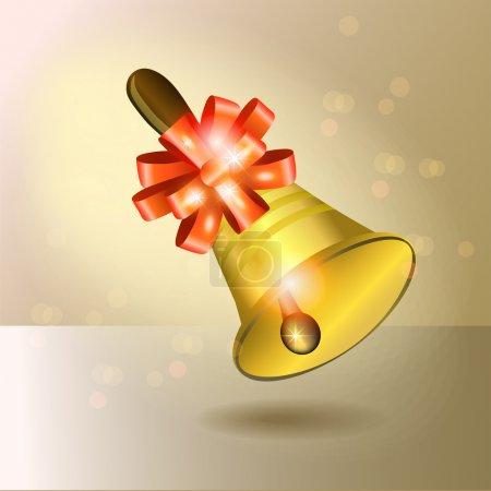 Illustration pour Cloche vectorielle dorée avec ruban rouge - image libre de droit