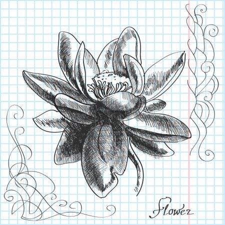 Illustration pour Vecteur illustration dessinée à la main d'une fleur - image libre de droit
