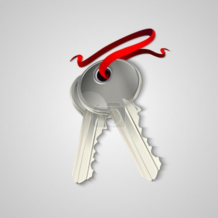 Sheaf of two silver keys with red ribbon. Vector illustration