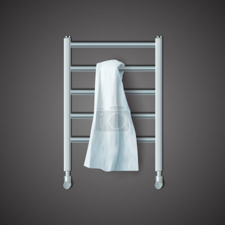 Illustration for White towel on the radiator, vector - Royalty Free Image