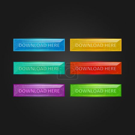 Vector set of colored glowing buttons download
