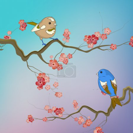 Birds sitting on branches with spring flowers