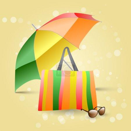 Illustration pour Plage avec parasol coloré, sac et lunettes de soleil - image libre de droit