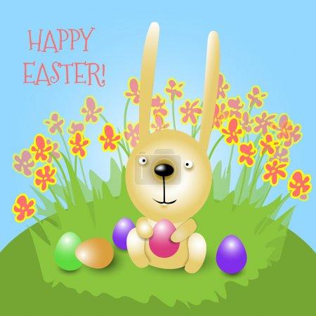 Illustration pour Lapin de Pâques tenant un œuf rose et souriant - image libre de droit
