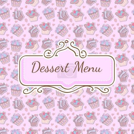 Illustration pour Modèle sans couture avec beaucoup de cupcakes différents, design pour menu de desserts - image libre de droit