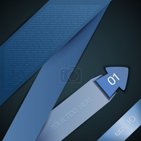 Illustration for Abstract brochure design with folded blue origami arrow - Royalty Free Image