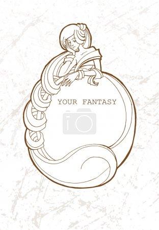 Illustration pour Cadre vectoriel avec fille fantaisie - image libre de droit