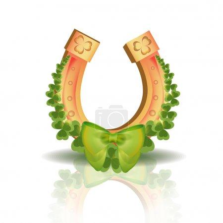 Illustration pour Fer à cheval et trèfles à quatre feuilles - symbole de la chance - image libre de droit