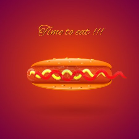 Illustration for Classic american fast food - sausage with mustard and ketchup - Royalty Free Image