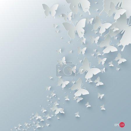 Photo pour Fond vectoriel avec papillons en papier - image libre de droit