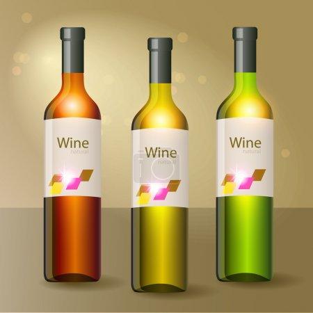 Illustration pour Trois bouteilles de vin. Vecteur . - image libre de droit