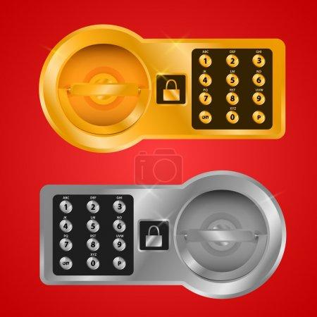 Illustration pour Banque le coffre-fort une cellule pour le stockage des valeurs - image libre de droit