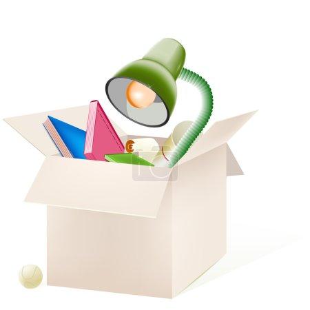 Illustration pour Boîte en carton avec des choses, vecteur - image libre de droit