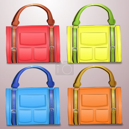 Collection of vector leather briefcases