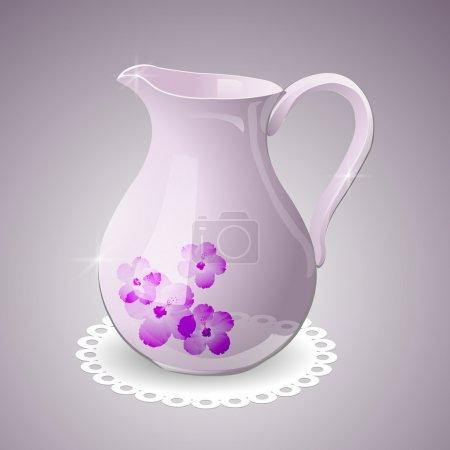 Illustration pour Pichet vectoriel décoré de fleurs - image libre de droit
