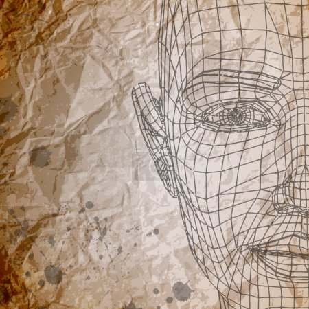 Vector model of face on crumpled paper background