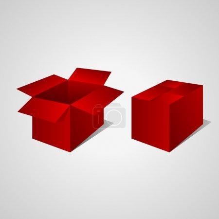 Illustration pour Boîte rouge ouverte et fermée. Vecteur - image libre de droit