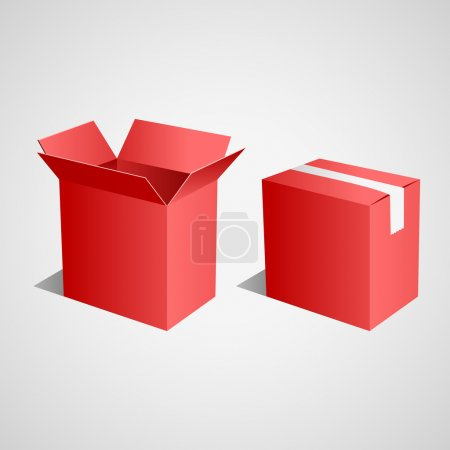 Illustration for Open and closed red boxes. Vector - Royalty Free Image