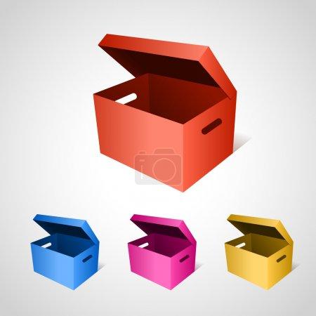 Illustration pour Ensemble de boîtes vectorielles colorées - image libre de droit