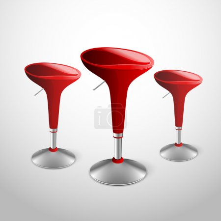 Vector red modern bar stools