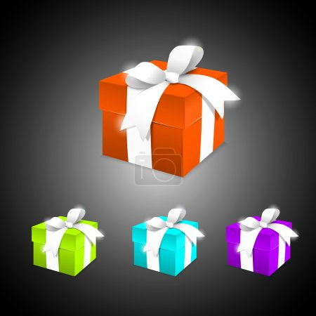 Illustration for A set of colorful gift boxes. Vector illustration. - Royalty Free Image