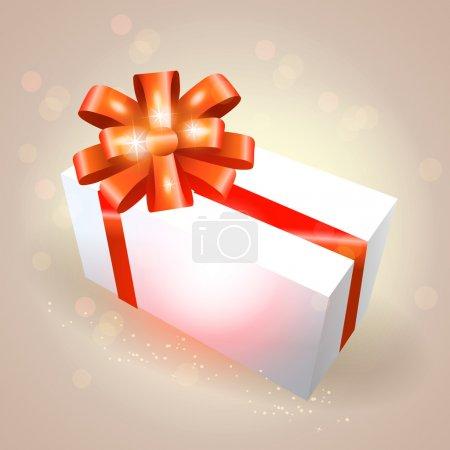 Illustration pour Coffret cadeau vectoriel avec ruban rouge - image libre de droit