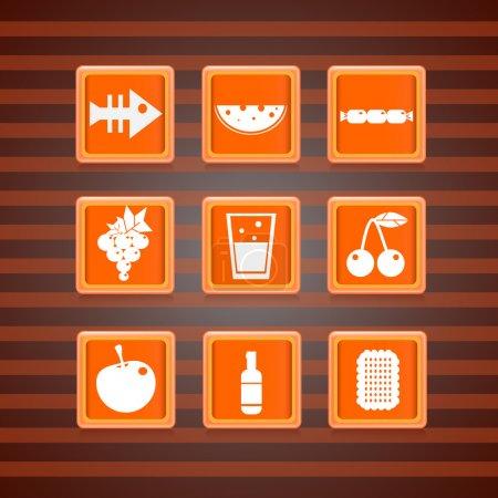 Illustration pour Icône de la nourriture sur la collection de boutons carrés. Illustration vectorielle - image libre de droit